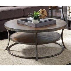 Ashley Nartina Round Coffee Table in Light Brown