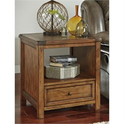 Ashley Tamonie Square End Table with Storage in Medium Brown