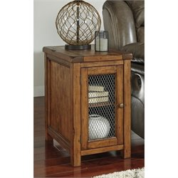 Ashley Tamonie Chair Side End Table with Mesh Door in Medium Brown