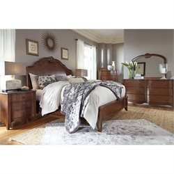 Ashley Balinder 5 Piece King Sleigh Bedroom Set in Medium Brown