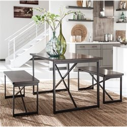Ashley Joring 3 Piece Rectangular Dining Set in Dark Brown