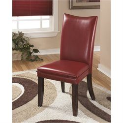 Ashley Charrell Faux Leather Dining Side Chair in Red