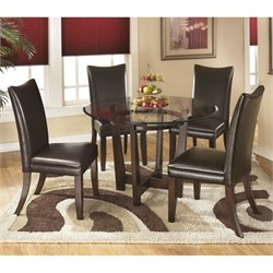 Ashley Charrell 5 Piece Glass Round Dining Set in Medium Brown