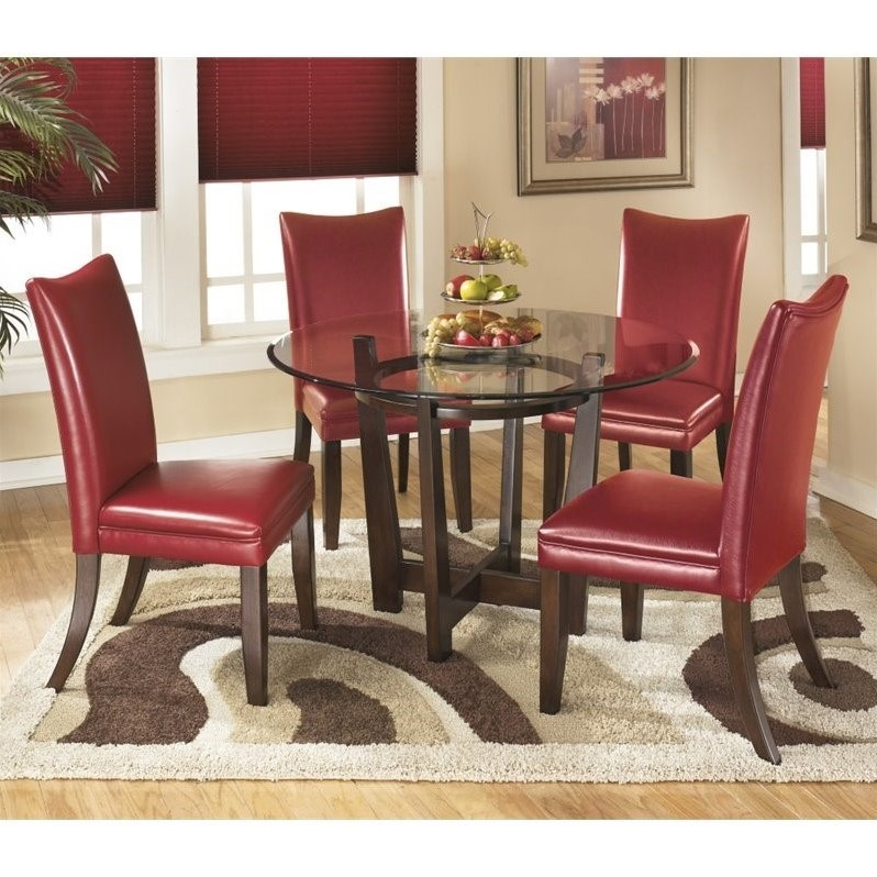 Red Dining Room Furniture: Ashley Furniture Charrell 5 Piece Glass Round Dining Set