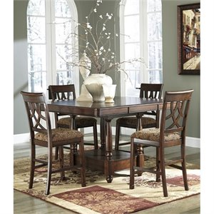 Ashley Leahlyn Counter Height Extendable Dining Set in Brown