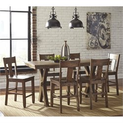 Ashley Walnord 7 Piece Counter Height Dining Set in Rustic Brown