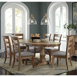 Ashley Danimore 7 Piece Oval Butterfly Dining Set in Light Brown