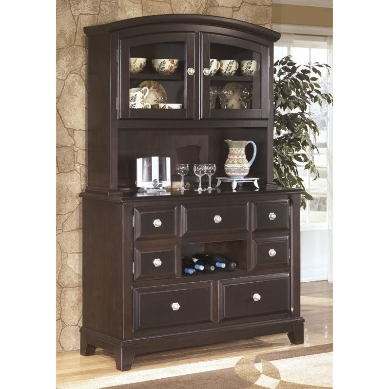 Ashley Ridgley Dining Room Buffet And China Hutch In Dark Brown D520 80 81 KIT