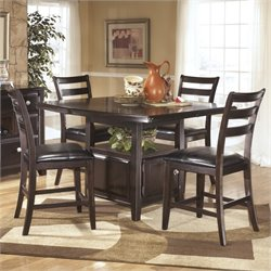 Ashley Ridgley 5 Piece Counter Height Extendable Dining Set in Brown