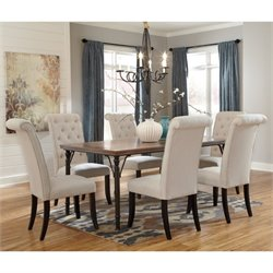 Ashley Tripton 7 Piece Dining Set in Medium Brown