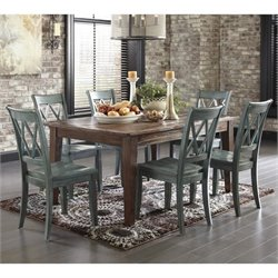 Ashley Mestler 7 Piece Dining Set in Dark Brown and Antique Blue