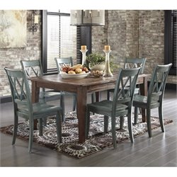 Ashley Mestler 7 Piece Dining Set in Bisque and Antique Blue