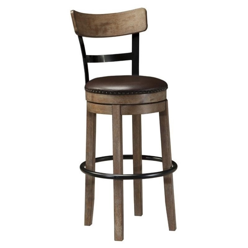Ashley Pinnadel 30 25 Quot Faux Leather Swivel Bar Stool In
