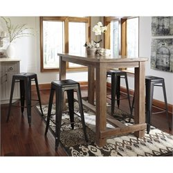 Pinnadel 5 Piece Dining Set with Metal Stool in Light Brown