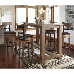 Pinnadel 5 Piece Dining Set with Faux Leather Swivel Stool in Light Brown