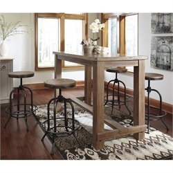 Ashley Pinnadel 5 Piece Bar Height Dining Set in Light Brown