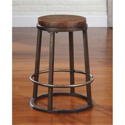 Glosco Round Metal Stool in Medium Brown