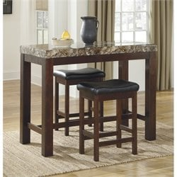 Ashley Kraleene 3 Piece Counter Height Dining Set in Dark Brown