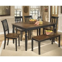 Ashley Owingsville 6 Piece Dining Set with Bench in Black and Brown