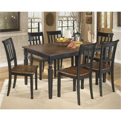 Ashley Owingsville 7 Piece Dining Set in Black and Brown