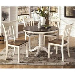 Ashley Whitesburg 5 Piece Round Dining Set in Brown and Cottage White