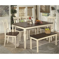 Ashley Whitesburg 6 Piece Dining Set with Bench in Brown and White