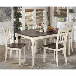 Ashley Whitesburg 5 Piece Dining Set in Brown and Cottage White
