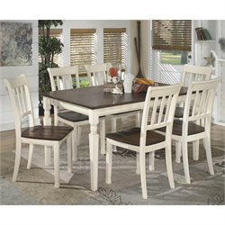 Ashley Whitesburg 7 Piece Dining Set in Brown and Cottage White