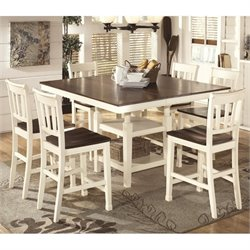 Ashley Whitesburg 7 Piece Counter Height Dining Set in Brown and White