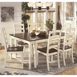 Ashley Whitesburg 7 Piece Extendable Dining Set in Brown and White