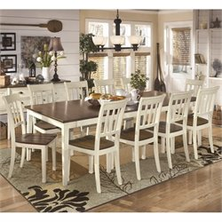 Ashley Whitesburg 11 Piece Extendable Dining Set in Brown and White