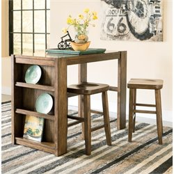 Ashley Birnalla 3 Piece Counter Height Storage Dining Set in Brown