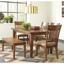 Ashley Shallibay 6 Piece Dining Set with Bench in Medium Brown