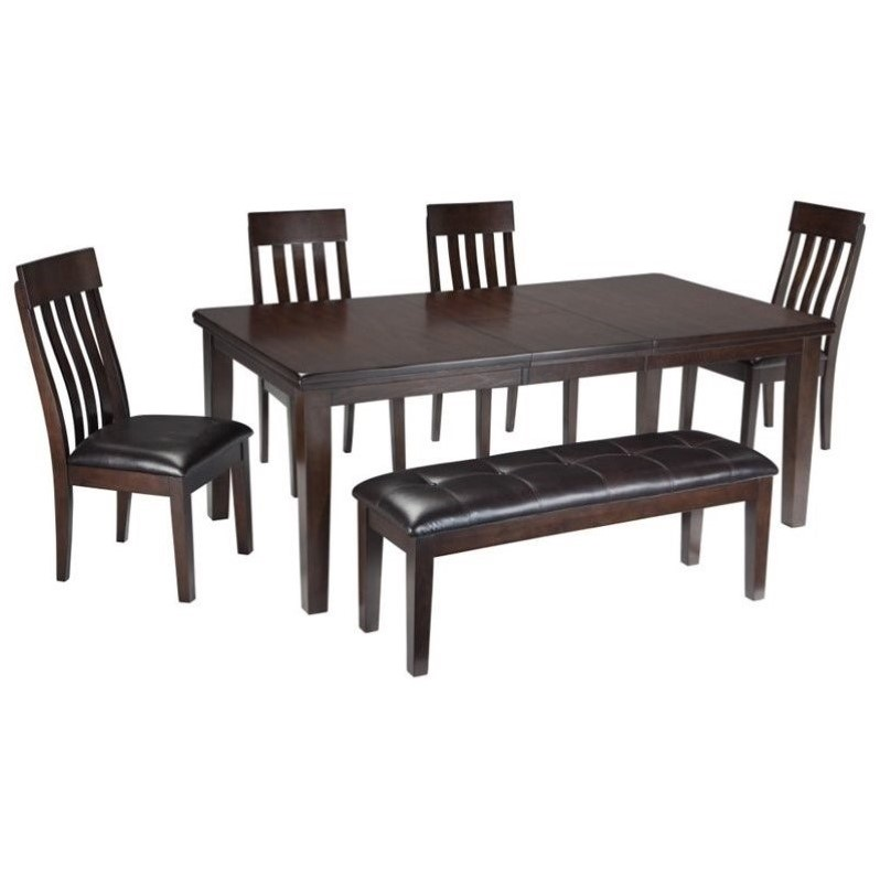 Ashley Haddigan 6 Piece Dining Set With Bench In Dark Brown D596 35 01x4 00 PKG on Solid Wood Bench Seat