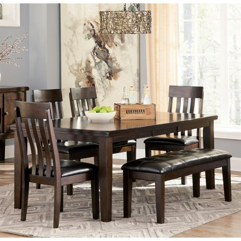 Dining Set With Benches: Ashley Haddigan 6 Piece Dining Set With Bench In Dark