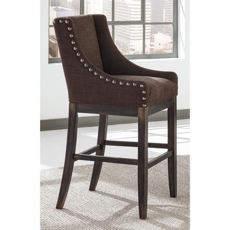 Ashley Moriann 30 25 Quot Upholstered Bar Stool In Dark Brown