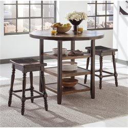 Ashley Moriann 3 Piece Round Counter Height Dining Set