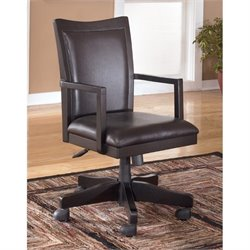Ashley Carlyle Adjustable Home Office Swivel Chair in Almost Black