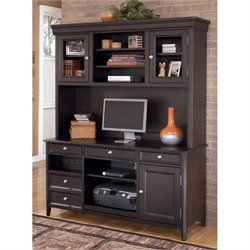Carlyle Home Office Credenza with Hutch in Almost Black