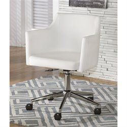 Ashley Baraga Faux Leather Adjustable Office Swivel Chair in White