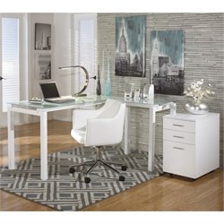 Ashley Baraga L Shaped Home Office Desk with Chair and File Cabinet
