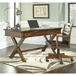 Ashley Burkesville Home Office Desk with Chair in Medium Brown