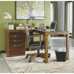 Ashley Lobink L-Shape Desk with Chair and File Cabinet in Brown