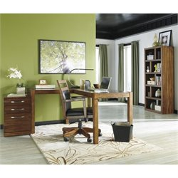 Ashley Lobink 4 Piece L-Shape Home Office Set in Brown