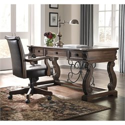 Ashley Alymere Home Office Computer Desk with Chair in Rustic Brown