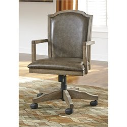 Ashley Tanshire Faux Leather Adjustable Swivel Office Chair in Brown