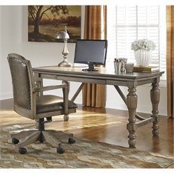 Ashley Tanshire Home Office Desk with Chair in Grayish Brown