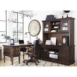 Ashley Porter 4 Piece L-Shape Executive Desk Set in Brown