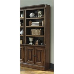 Ashley Gaylon Large 4 Shelf Bookcase with Doors in Burnished Brown