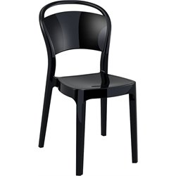Compamia Bo Polycarbonate Patio Dining Chair in Glossy Black